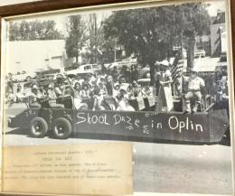 Oplin students participating in a parade.